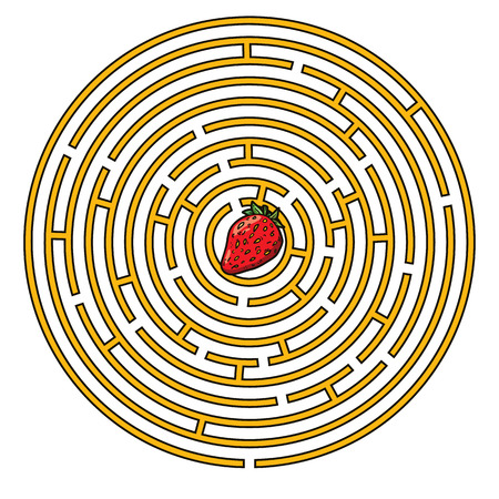 strawberry game. Vector illustration of round labyrinth game with cute strawberry for children