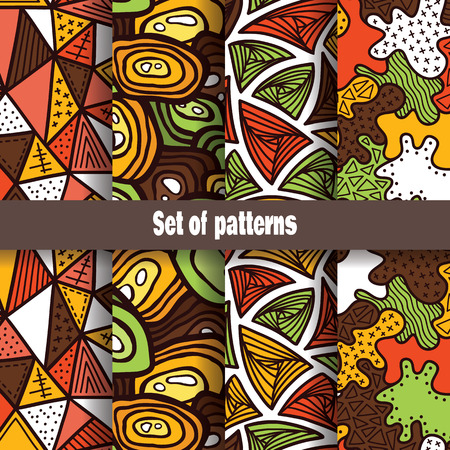 Cute abstract pattern collection. Vector seamless set of hand drawn patterns with different shapes Vector