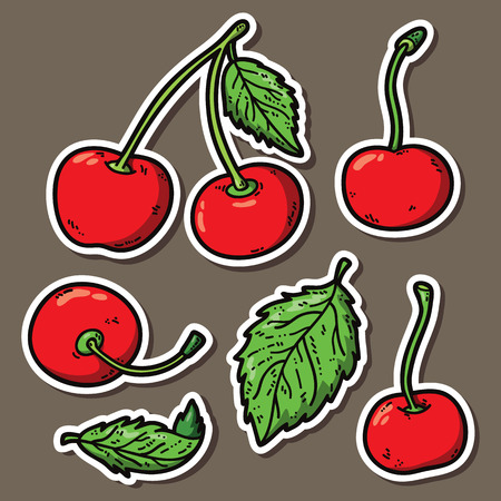 cute cherries. Vector stickers set of cute hand drawn cherry Vector