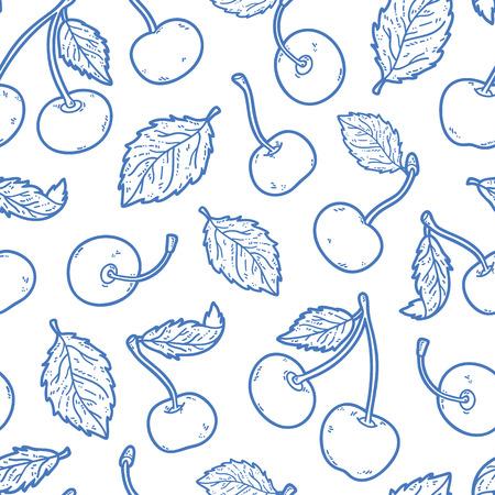 귀여운 체리 패턴. 벽지 웹 페이지 배경 표면 질감 섬유 스크랩 책 디자인 패브릭 메뉴 체리 벡터 낙서 원활한 패턴