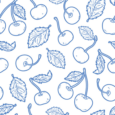 scrap book: cute cherry pattern. Vector doodle seamless pattern with cherries for wallpaper web page background surface textures textile scrap book design fabric menu Illustration