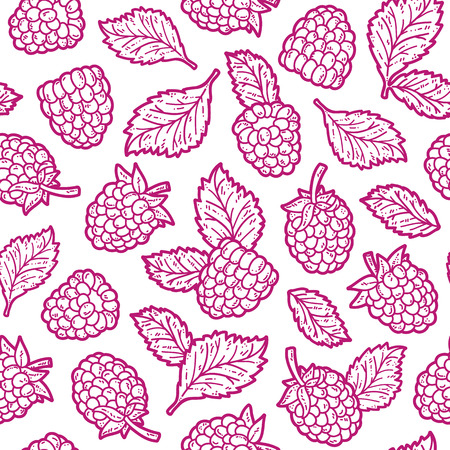 cute raspberry pattern. Vector doodle seamless pattern with raspberry for wallpaper web page background surface textures textile scrap book design fabric menu