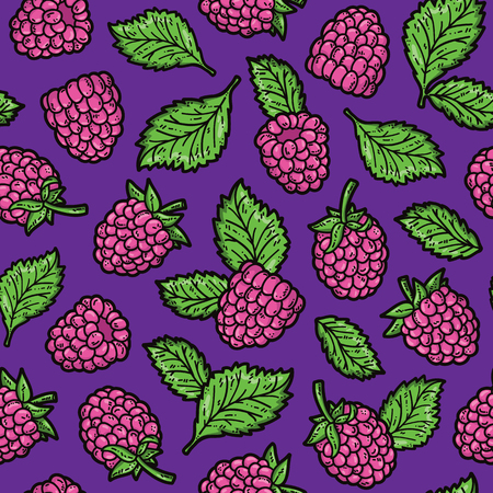 scrap book: raspberry pattern. Vector doodle seamless pattern with raspberry for wallpaper web page background surface textures textile scrap book design fabric menu