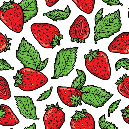 scrap book: strawberry pattern. Vector doodle seamless pattern with strawberries for wallpaper web page background surface textures textile scrap book design fabric menu