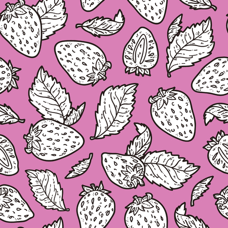 scrap book: cute strawberry pattern. Vector doodle seamless pattern with strawberries for wallpaper web page background surface textures textile scrap book design fabric menu Illustration