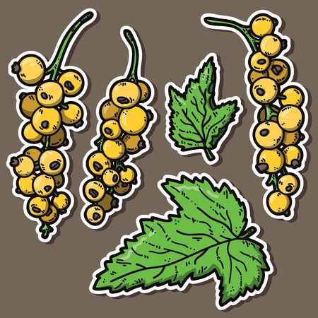 cute currant. Vector stickers set of cute hand drawn colorful currant Vector