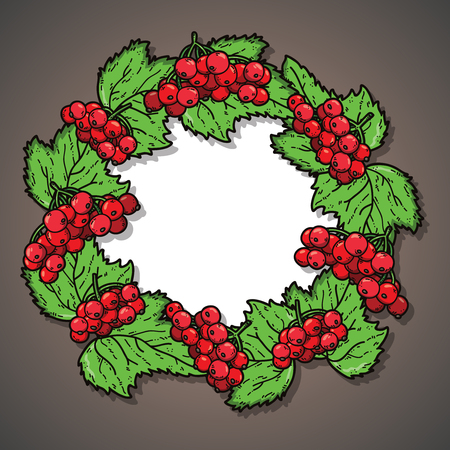 cute wreath. vector illustration of cute wreath of berries and leaf Illustration