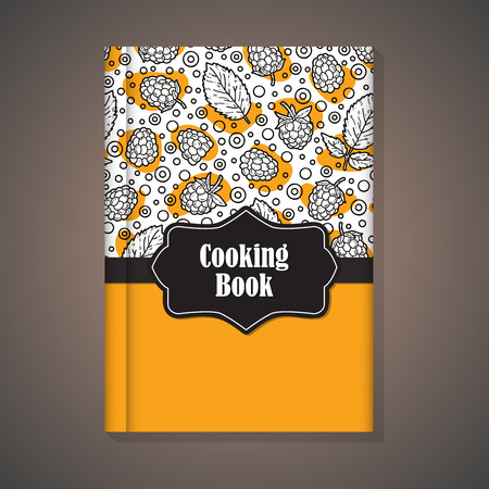 for example: Notebook template. Vector example of using hand drawn food pattern for cover of cooking book