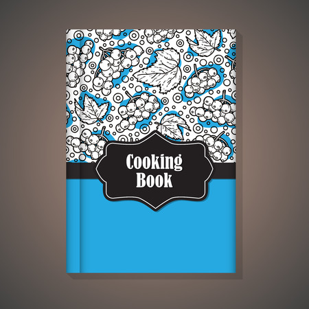 Notebook template. Vector example of using hand drawn food pattern for cover of cooking book