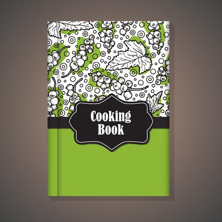 노트북 템플릿입니다. 요리 책의 표지 손으로 그린 음식 패턴을 사용하여 벡터 예 일러스트