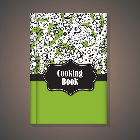 cooking book: Notebook template. Vector example of using hand drawn food pattern for cover of cooking book