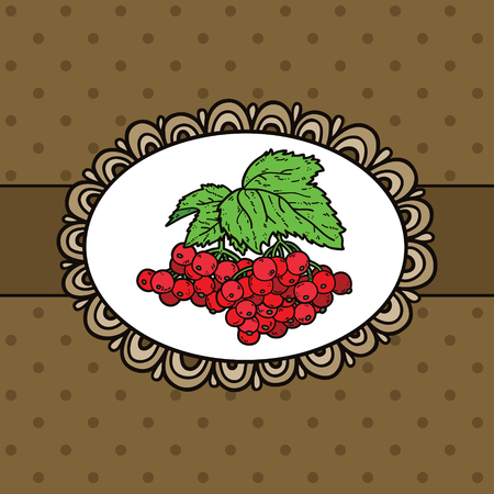 doodle frame: doodle frame and berries. Vector example of using hand drawn berries and doodle frame