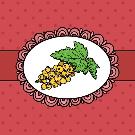 example: doodle frame and berries. Vector example of using hand drawn berries and doodle frame
