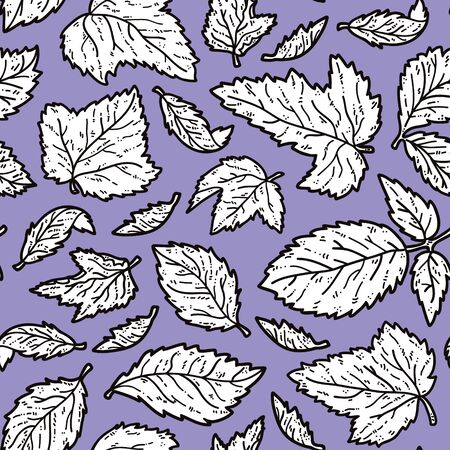 scrap book: cute leaves pattern. Vector doodle seamless pattern with leaves for wallpaper, web page background, surface textures, textile, scrap book, design fabric