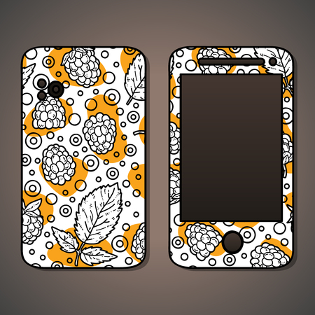 cases: phone case. Vector example of using hand drawn food pattern for phone cases