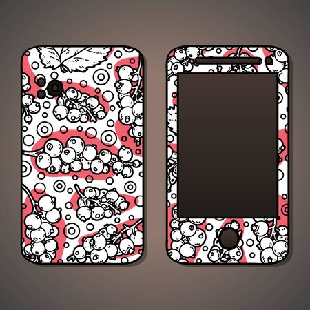 an example: phone case. Vector example of using hand drawn food pattern for phone cases