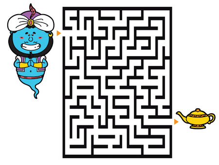 brainteaser: Genie game. Vector illustration of labyrinth game with cute Genie for children Illustration