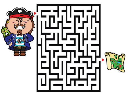 Pirate game. Vector illustration of labyrinth game with cute Pirate for children