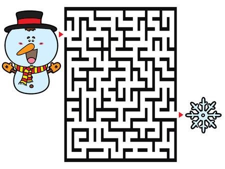 bonhomme de neige: Bonhomme de neige jeu. Vector illustration de jeu de labyrinthe avec bonhomme de neige mignon pour les enfants Illustration