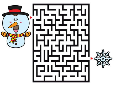 snowman background: Snowman game. Vector illustration of labyrinth game with cute Snowman for children Illustration