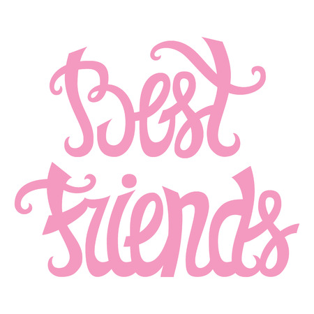 Best friends. Hand drawn vector cute lettering best friends