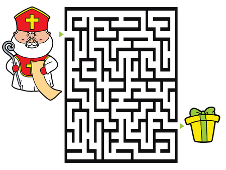 nicholas: St. Nicholas game. Vector illustration of labyrinth game with cute St. Nicholas for children