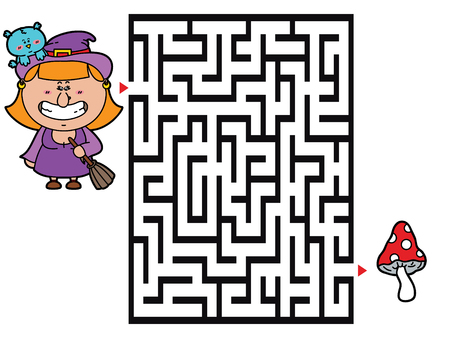 Witch game. Vector illustration of labyrinth game with cute Witch for children Ilustrace