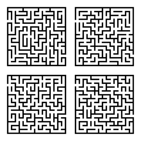 brainteaser: Set of mazes labyrinths.Vector illustration of simple four labyrinths in set