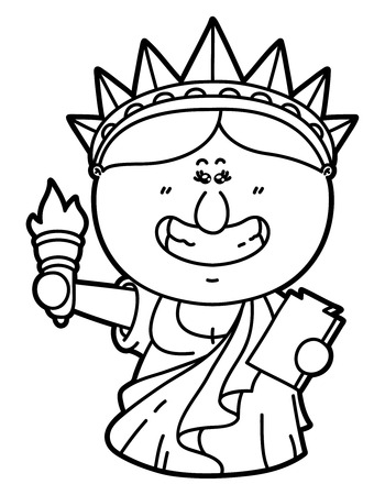 Divertido Estatua De La Libertad. Vector Ilustración De La Página ...