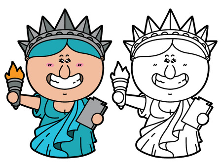 Divertido Estatua De La Libertad Vector Ilustración De La Página Para Colorear De Dibujos Animados Feliz Estatua De La Libertad Que Es La Celebración