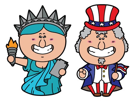 funny Uncle Sam and Statue of Liberty. vector illustration of kawaii Uncle Sam and Statue of Liberty - symbols of USA Illustration
