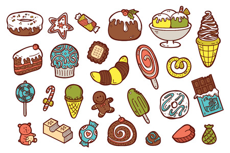 a charming: cute sweets icons. vector doodle collection of hand drawn sweets icons