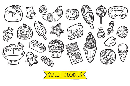 cheerful cartoon: cute sweets icons. vector doodle collection of hand drawn sweets icons