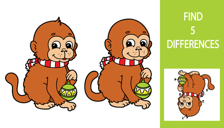 chubby cartoon: Monkey game. Vector illustration of finding differences game with cute cartoon monkey for children