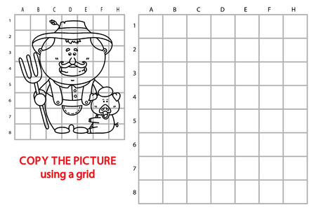 stereotypical: funny farmer game. Vector illustration of grid copy puzzle with happy cartoon farmer for children Illustration