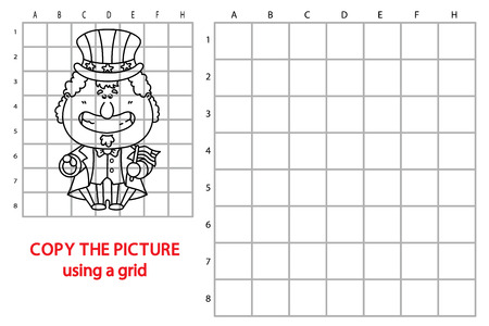sam: funny uncle Sam game. Vector illustration of grid copy puzzle with happy cartoonuncle Sam for children Illustration