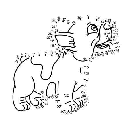 puppy cartoon: dot to dot puppy game. Vector illustration of dot to dot puzzle with happy cartoon puppy for children