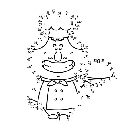 chubby cartoon: dot to dot cook game. Vector illustration of dot to dot puzzle with happy cartoon cook for children