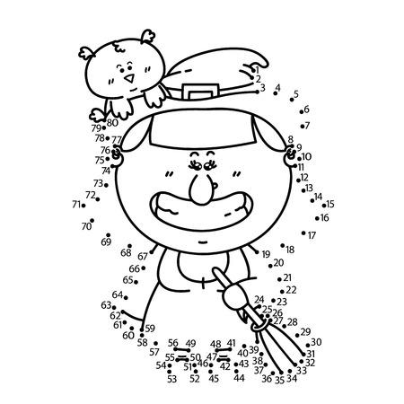 bruja: Punto para puntear el juego de la bruja. Ilustración vectorial de punto a punto de puzzle con feliz bruja de la historieta para los niños