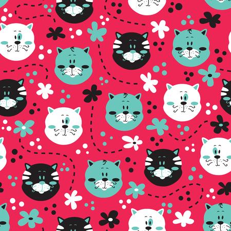 귀여운 키티 패턴. 벡터 고양이와 꽃 다채로운 원활한 패턴