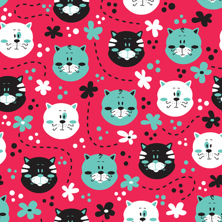 cute kitty pattern. vector colorful seamless pattern with cats and flowers Ilustrace