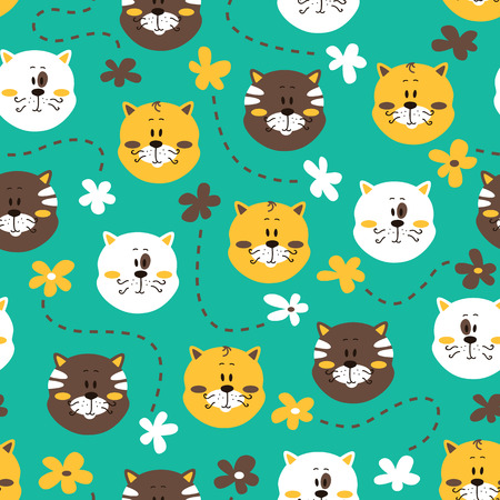 floral vectors: cute kitty pattern. vector colorful seamless pattern with cats and flowers Illustration