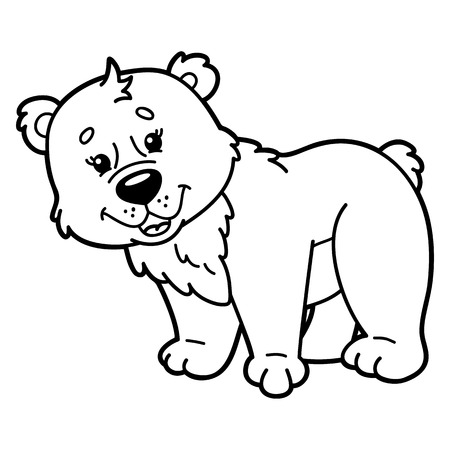 scrap book: Cute bear. illustration of cute cartoon bear character for children, coloring and scrap book