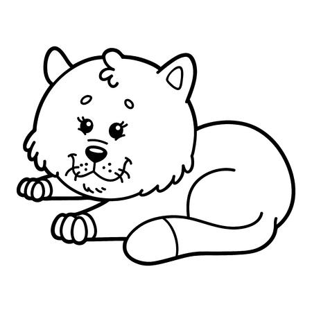 scrap book: Cute cat.  illustration of cute cartoon cat character for children, coloring and scrap book