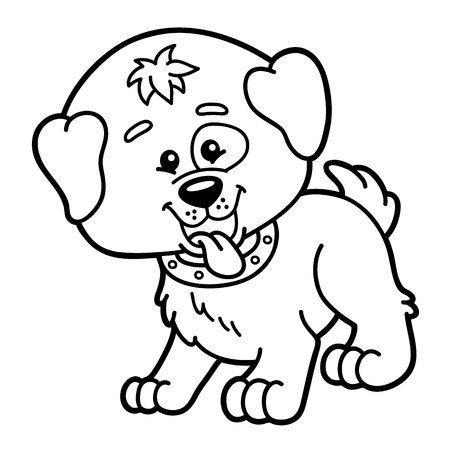 scrap book: Cute dog.  illustration of cute cartoon dog character for children, coloring and scrap book