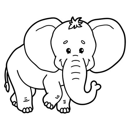 scrap book: Cute elephant.  illustration of cute cartoon elephant character for children, coloring and scrap book