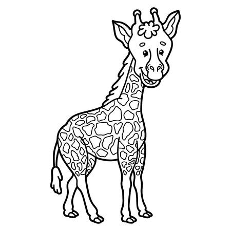 scrap book: Cute giraffe.  illustration of cute cartoon giraffe character for children, coloring and scrap book Illustration