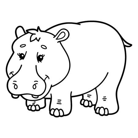 scrap book: Cute hippopotamus.  illustration of cute cartoon hippopotamus character for children, coloring and scrap book