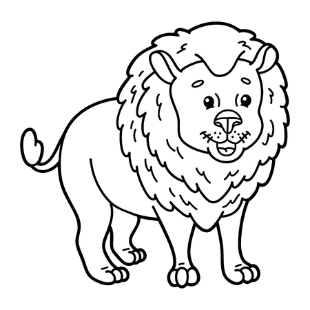 kids fun: Cute lion.  illustration of cute cartoon lion character for children, coloring and scrap book Illustration