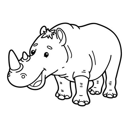 Rinoceronte Divertido. La Página De Ilustraciones Para Colorear De ...